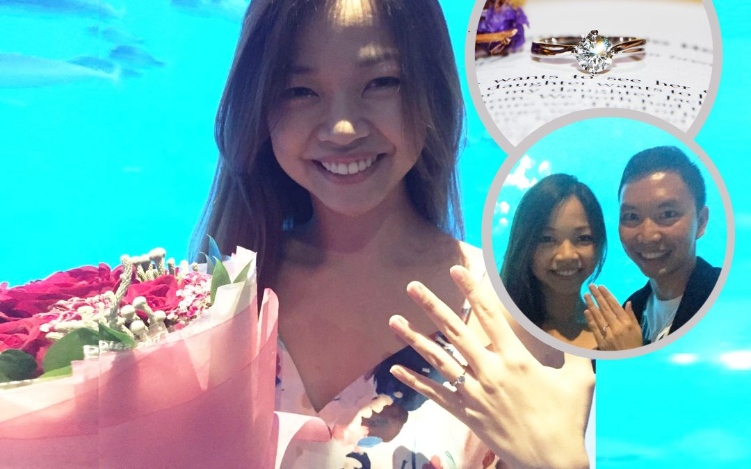 Proposal at Underwater World with Diamond Engagement Ring with Swirl Design