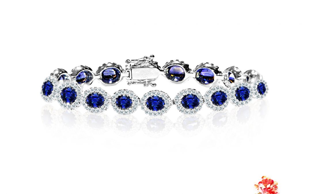 Diamond and Blue Sapphire Bracelet
