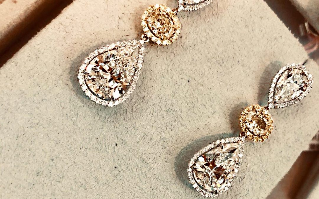 eClarity's Exclusive Collection – Pear Shaped Fancy Yellow Diamond Earrings