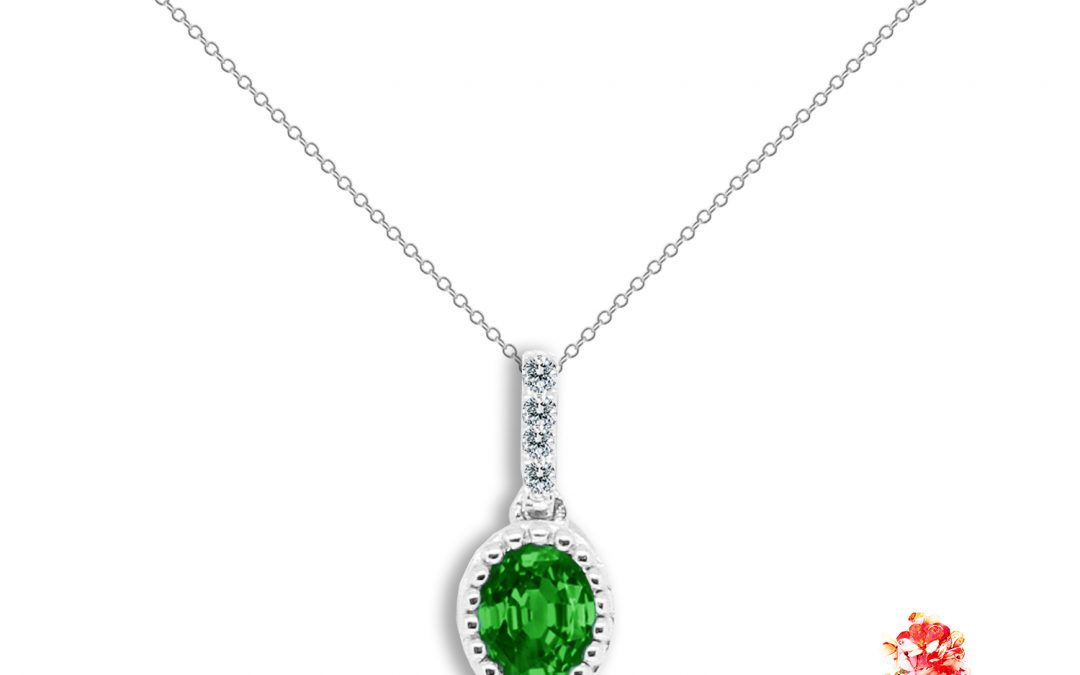 Diamond and Oval Green Sapphire Pendant